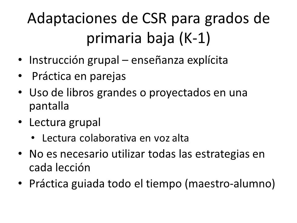 Adaptaciones de CSR para grados de primaria baja (K-1)