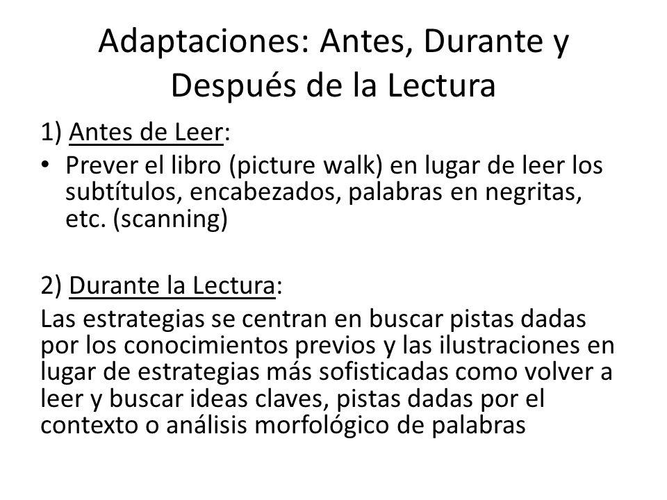 Adaptaciones: Antes, Durante y Después de la Lectura