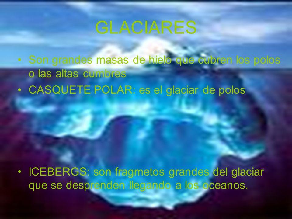 GLACIARES Son grandes masas de hielo que cubren los polos o las altas cumbres. CASQUETE POLAR: es el glaciar de polos.