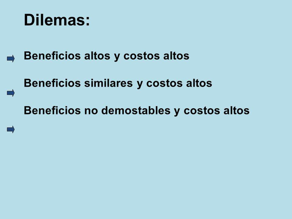 Dilemas: Beneficios altos y costos altos