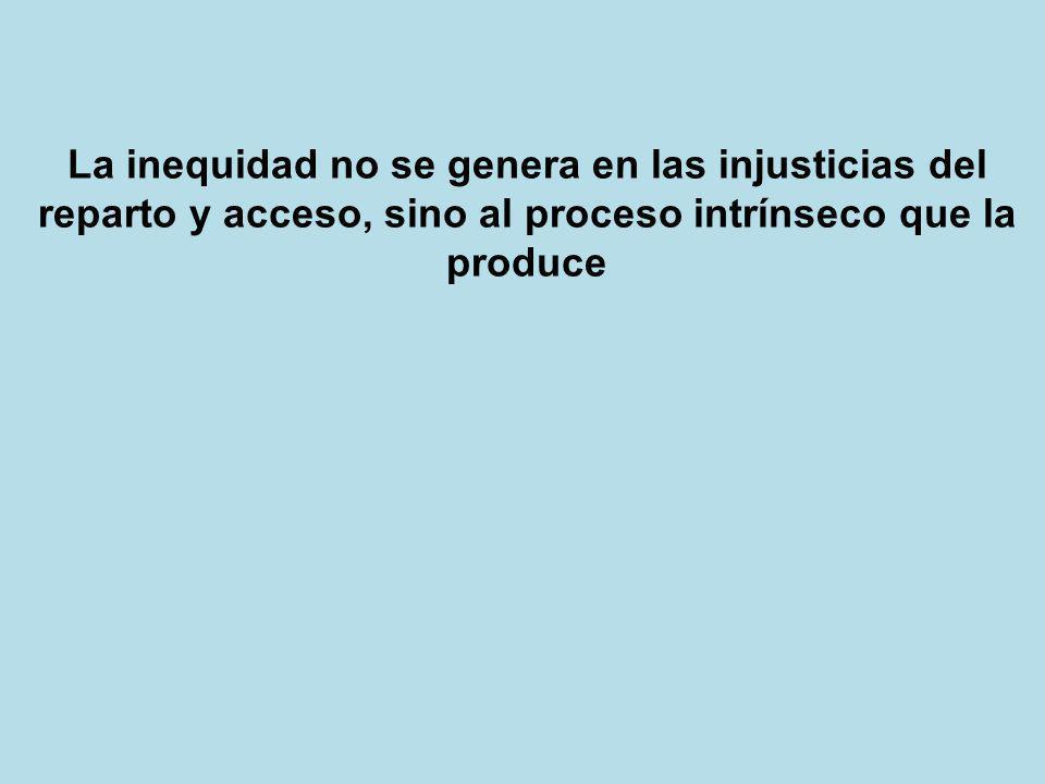 La inequidad no se genera en las injusticias del reparto y acceso, sino al proceso intrínseco que la produce