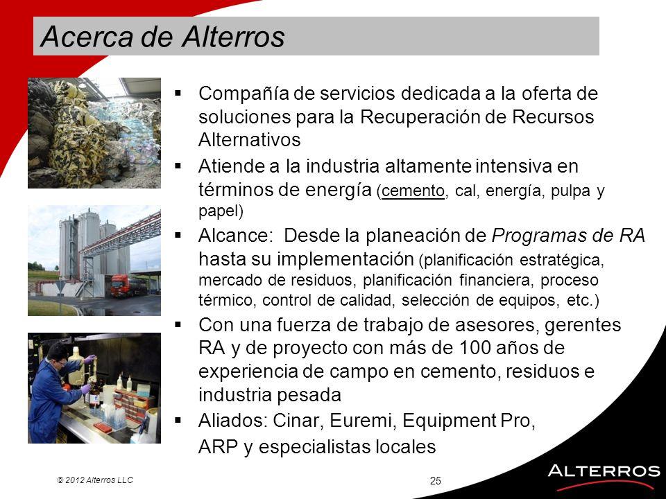 Acerca de Alterros Compañía de servicios dedicada a la oferta de soluciones para la Recuperación de Recursos Alternativos.
