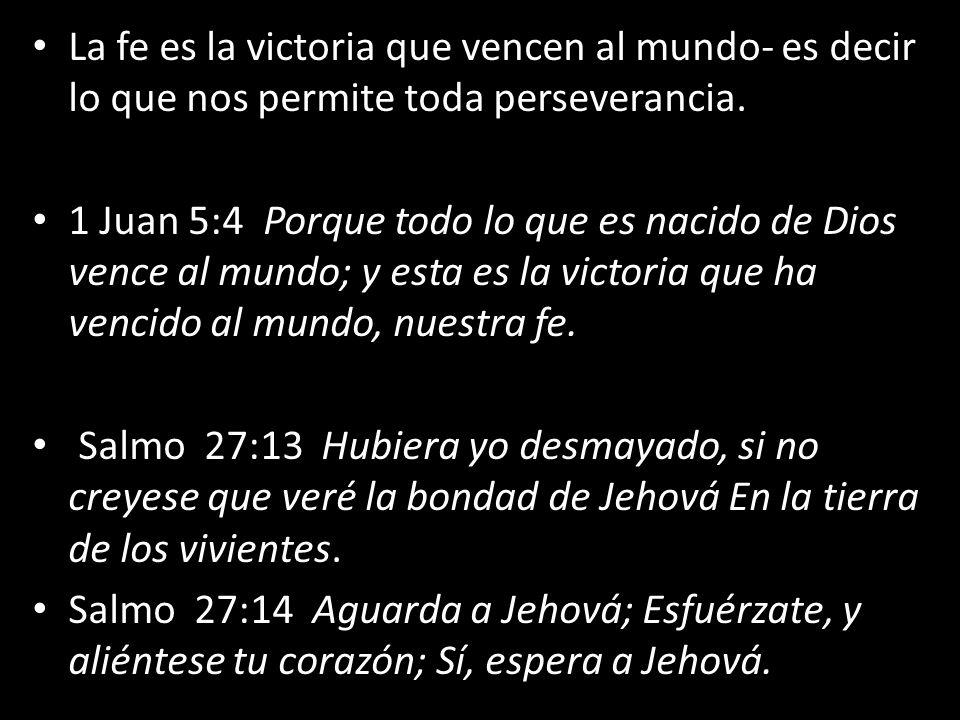 La fe es la victoria que vencen al mundo- es decir lo que nos permite toda perseverancia.