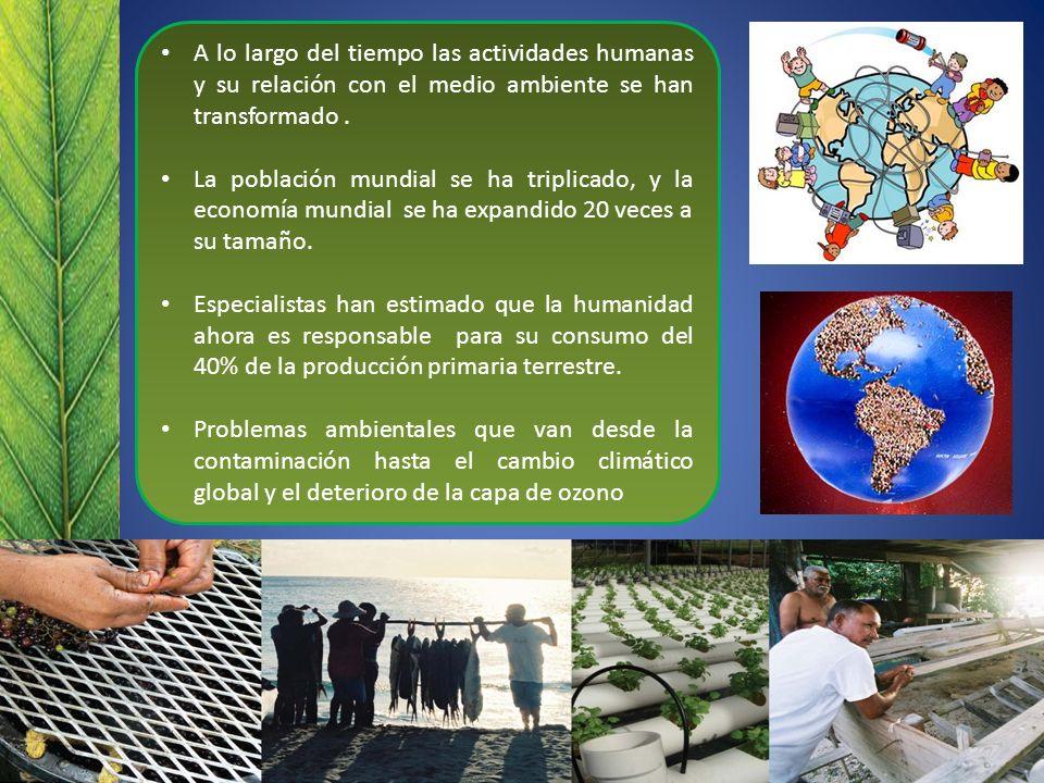 A lo largo del tiempo las actividades humanas y su relación con el medio ambiente se han transformado .