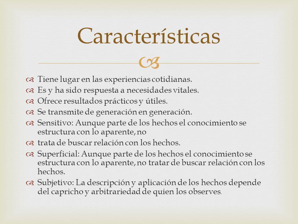 Características Tiene lugar en las experiencias cotidianas.