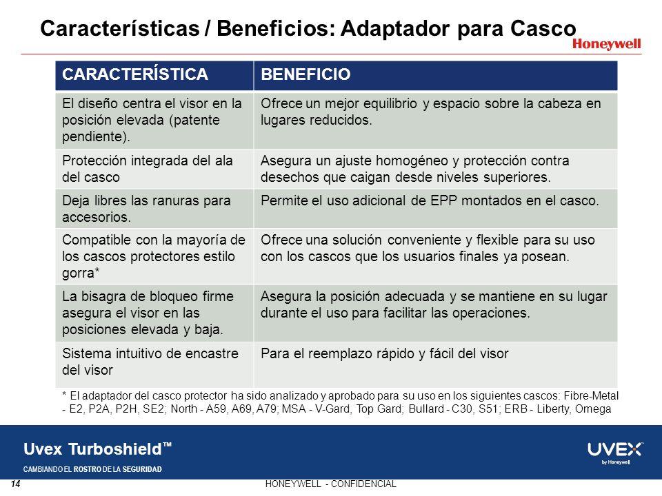 Características / Beneficios: Adaptador para Casco