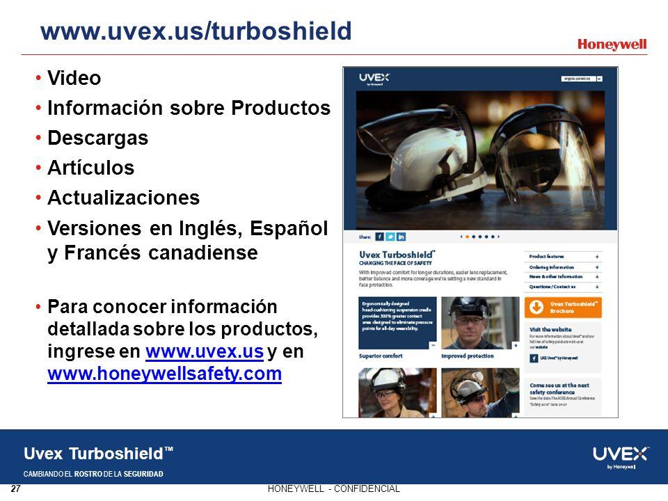 www.uvex.us/turboshield Video Información sobre Productos Descargas
