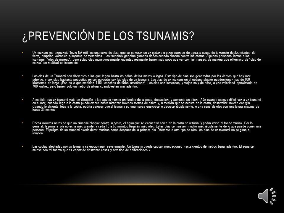 ¿prevención de los tsunamis