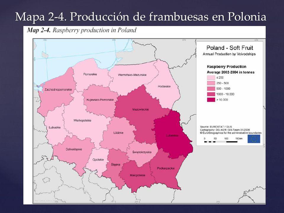 Mapa 2-4. Producción de frambuesas en Polonia