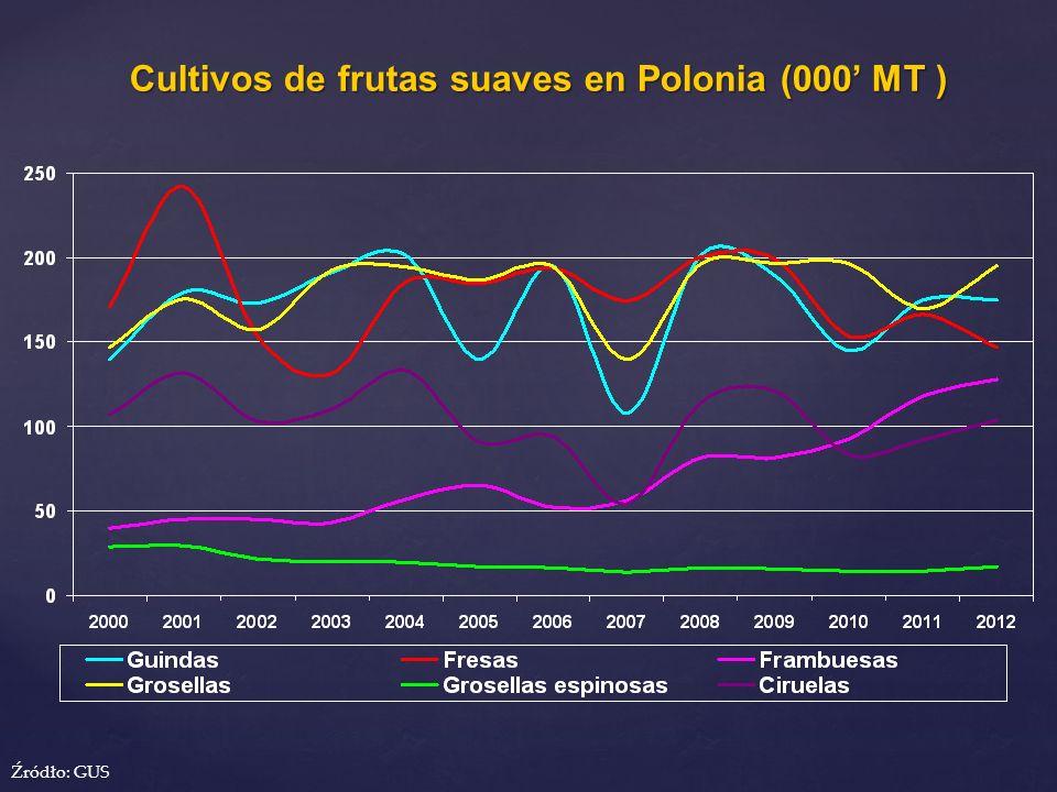 Cultivos de frutas suaves en Polonia (000' MT )