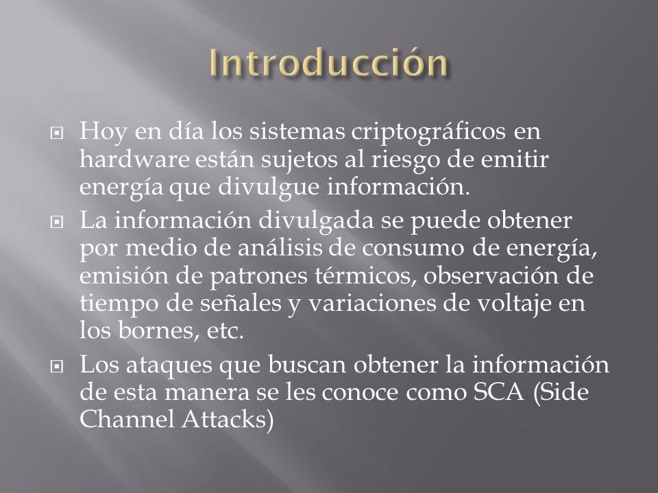 Introducción Hoy en día los sistemas criptográficos en hardware están sujetos al riesgo de emitir energía que divulgue información.