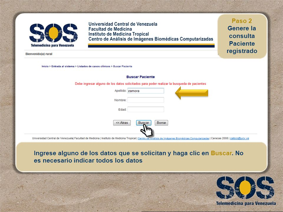 Genere la consulta Paciente registrado