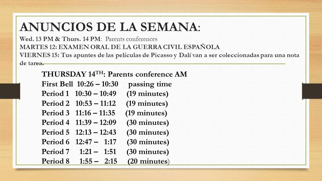 ANUNCIOS DE LA SEMANA: Wed. 13 PM & Thurs
