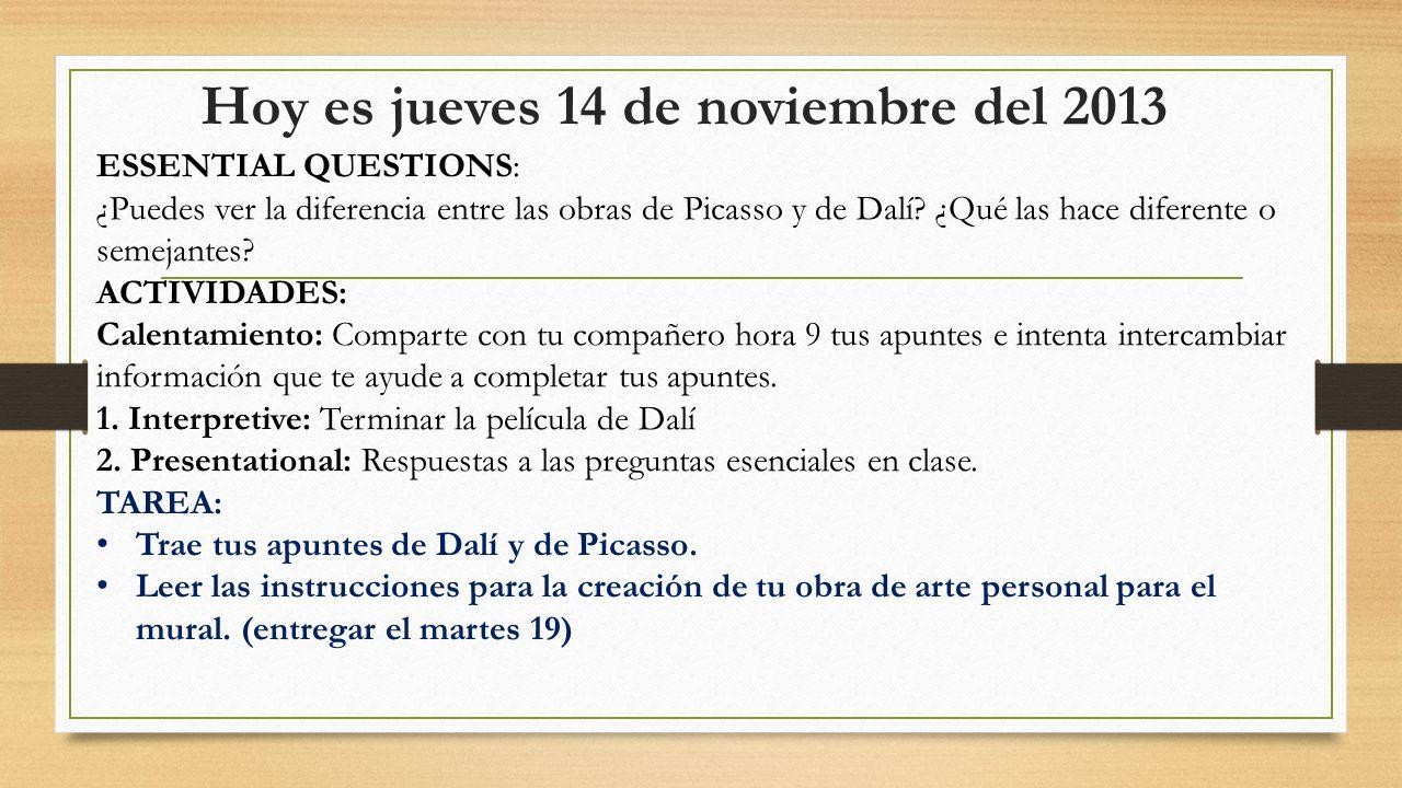 Hoy es jueves 14 de noviembre del 2013