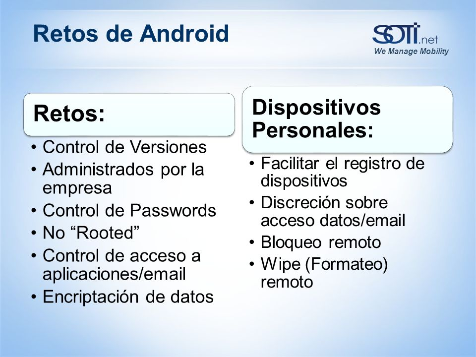 Retos de Android Retos: Dispositivos Personales: Control de Versiones