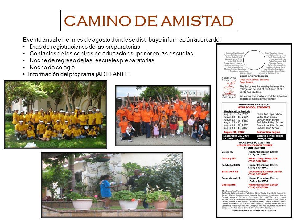 CAMINO DE AMISTAD Evento anual en el mes de agosto donde se distribuye información acerca de: Días de registraciones de las preparatorias.