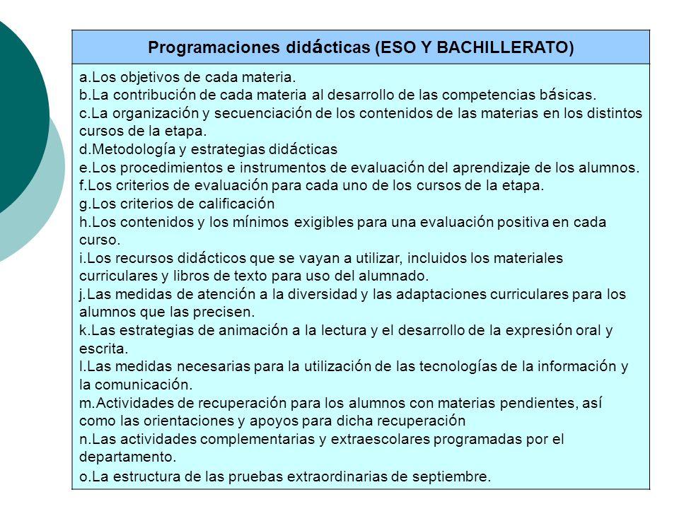 Programaciones didácticas (ESO Y BACHILLERATO)