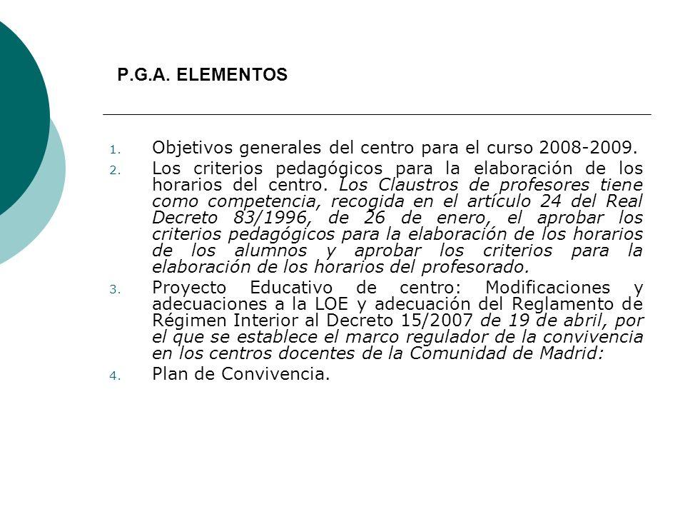 P.G.A. ELEMENTOS Objetivos generales del centro para el curso 2008-2009.