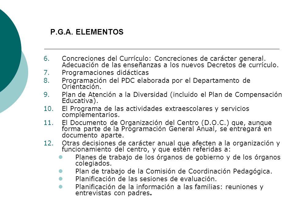 P.G.A. ELEMENTOS Concreciones del Currículo: Concreciones de carácter general. Adecuación de las enseñanzas a los nuevos Decretos de currículo.