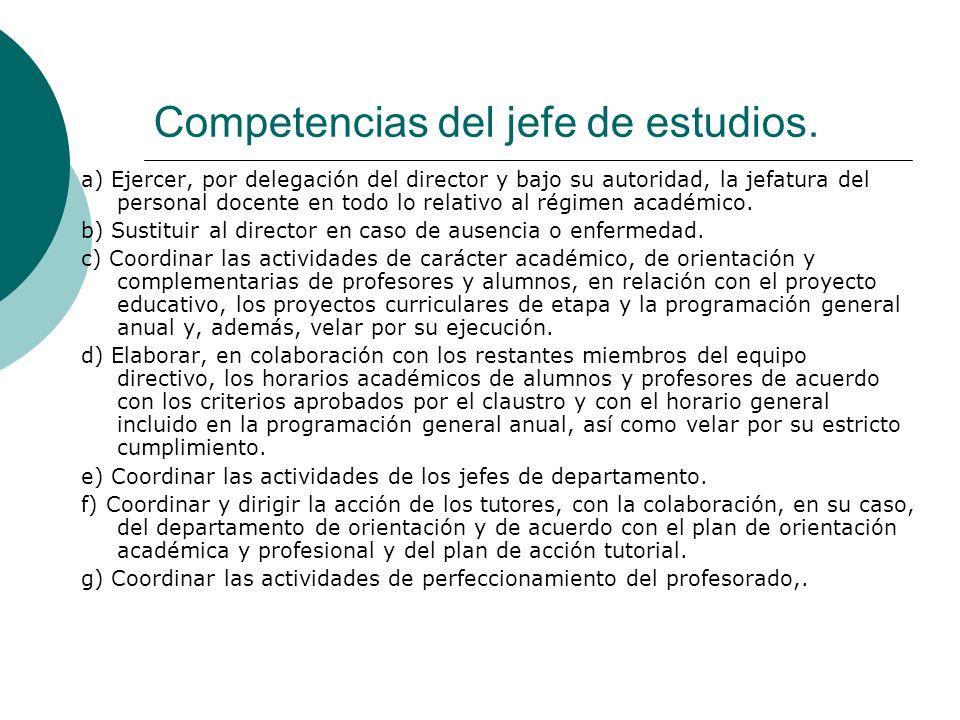 Competencias del jefe de estudios.