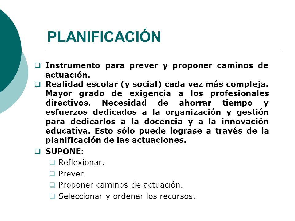 PLANIFICACIÓN Instrumento para prever y proponer caminos de actuación.