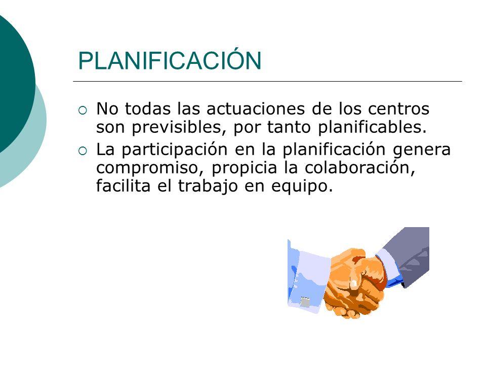 PLANIFICACIÓN No todas las actuaciones de los centros son previsibles, por tanto planificables.