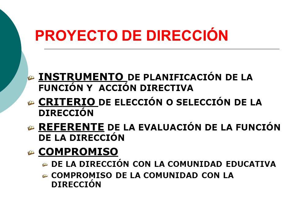 PROYECTO DE DIRECCIÓN INSTRUMENTO DE PLANIFICACIÓN DE LA FUNCIÓN Y ACCIÓN DIRECTIVA. CRITERIO DE ELECCIÓN O SELECCIÓN DE LA DIRECCIÓN.