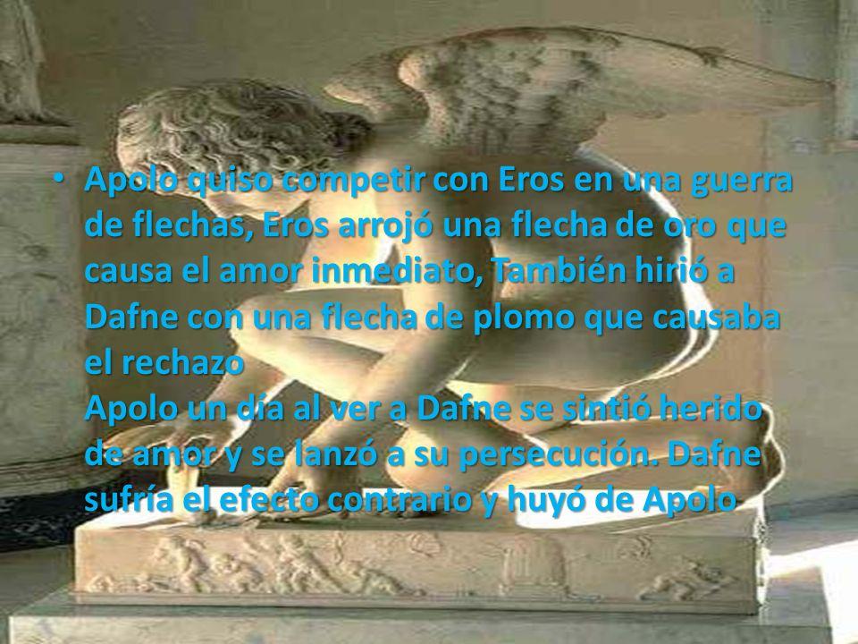 Apolo quiso competir con Eros en una guerra de flechas, Eros arrojó una flecha de oro que causa el amor inmediato, También hirió a Dafne con una flecha de plomo que causaba el rechazo Apolo un día al ver a Dafne se sintió herido de amor y se lanzó a su persecución.