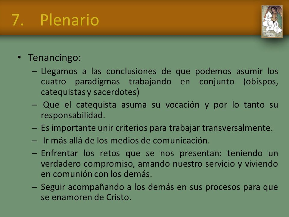 7. Plenario Tenancingo: