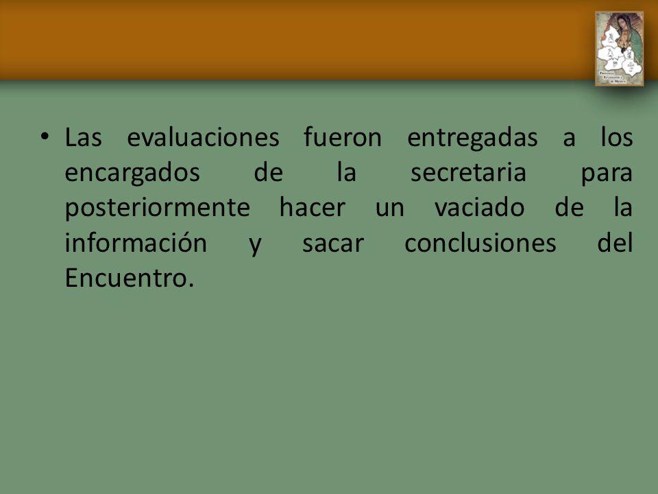 Las evaluaciones fueron entregadas a los encargados de la secretaria para posteriormente hacer un vaciado de la información y sacar conclusiones del Encuentro.