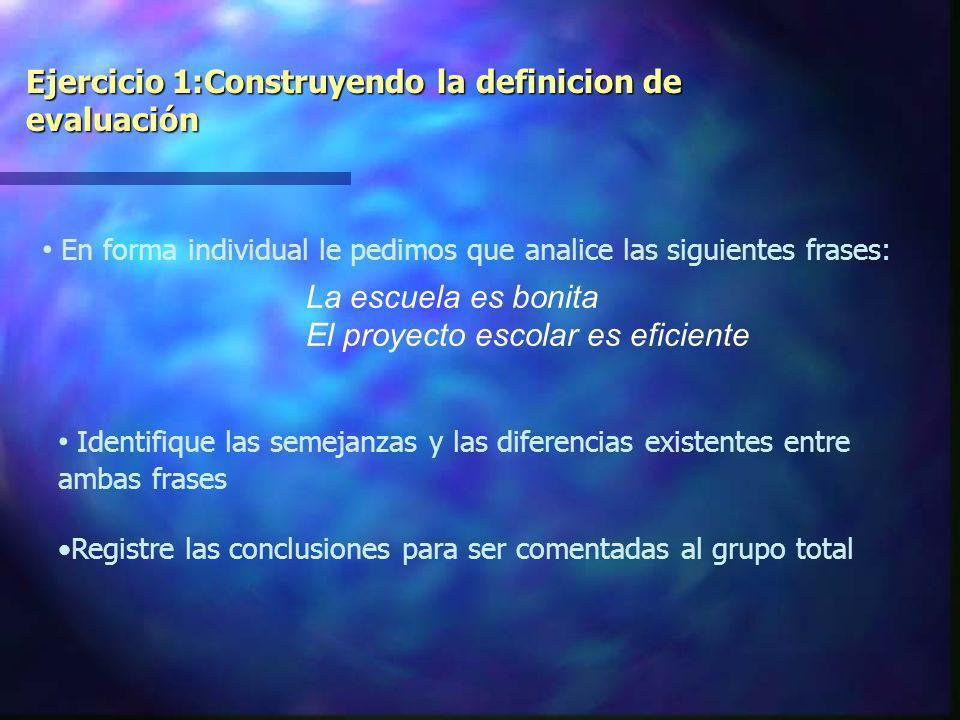 Ejercicio 1:Construyendo la definicion de evaluación
