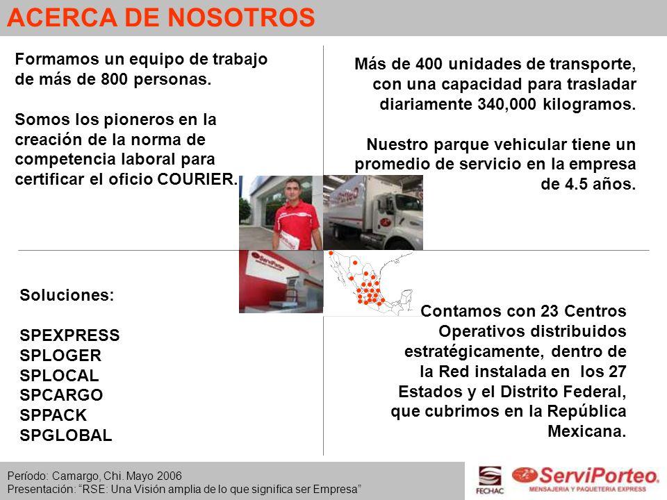 ACERCA DE NOSOTROS Formamos un equipo de trabajo de más de 800 personas.