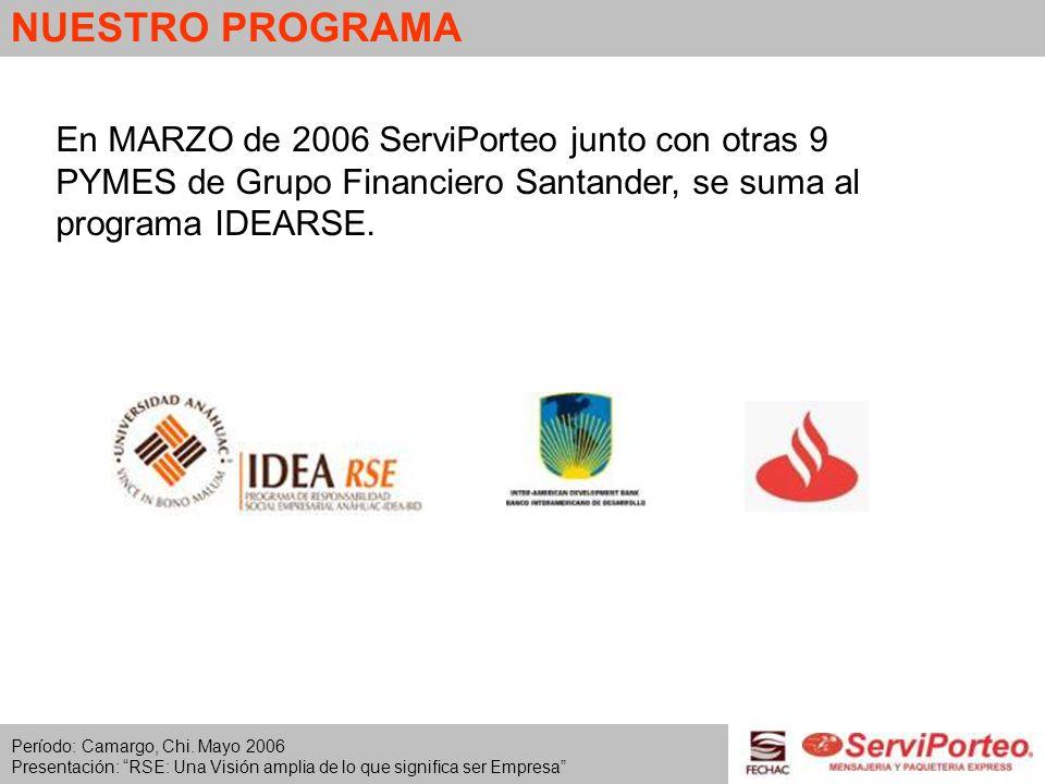 NUESTRO PROGRAMAEn MARZO de 2006 ServiPorteo junto con otras 9 PYMES de Grupo Financiero Santander, se suma al programa IDEARSE.
