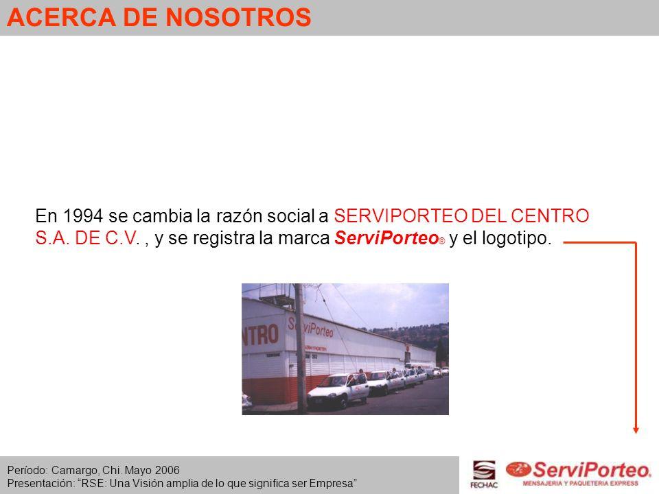 ACERCA DE NOSOTROSEn 1994 se cambia la razón social a SERVIPORTEO DEL CENTRO S.A. DE C.V. , y se registra la marca ServiPorteo® y el logotipo.