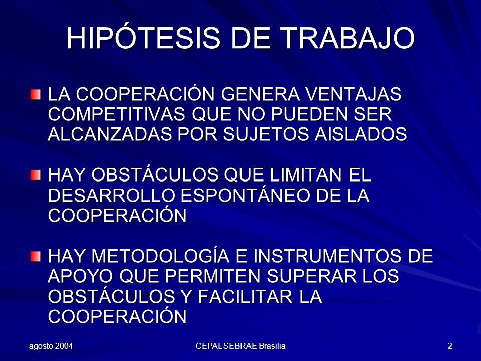 HIPÓTESIS DE TRABAJO LA COOPERACIÓN GENERA VENTAJAS COMPETITIVAS QUE NO PUEDEN SER ALCANZADAS POR SUJETOS AISLADOS.