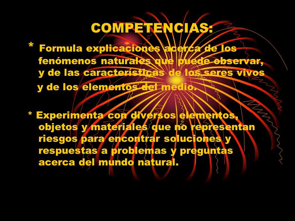 COMPETENCIAS: * Formula explicaciones acerca de los fenómenos naturales que puede observar, y de las características de los seres vivos.