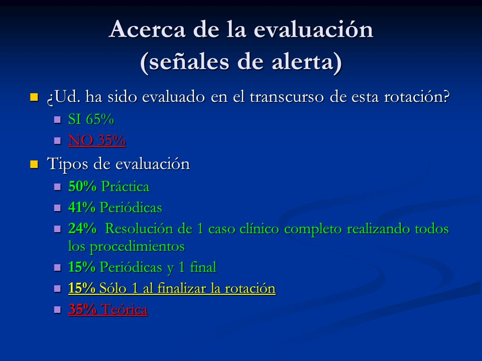 Acerca de la evaluación (señales de alerta)