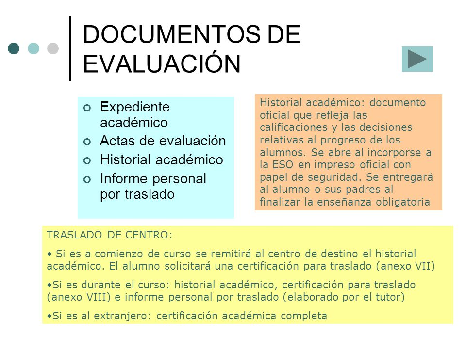DOCUMENTOS DE EVALUACIÓN