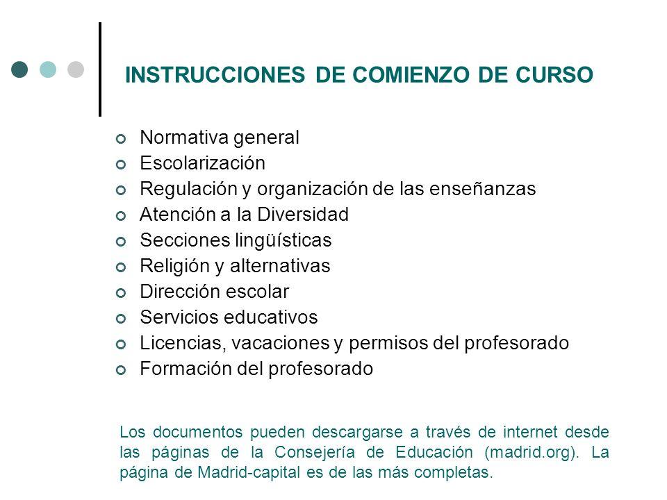 INSTRUCCIONES DE COMIENZO DE CURSO