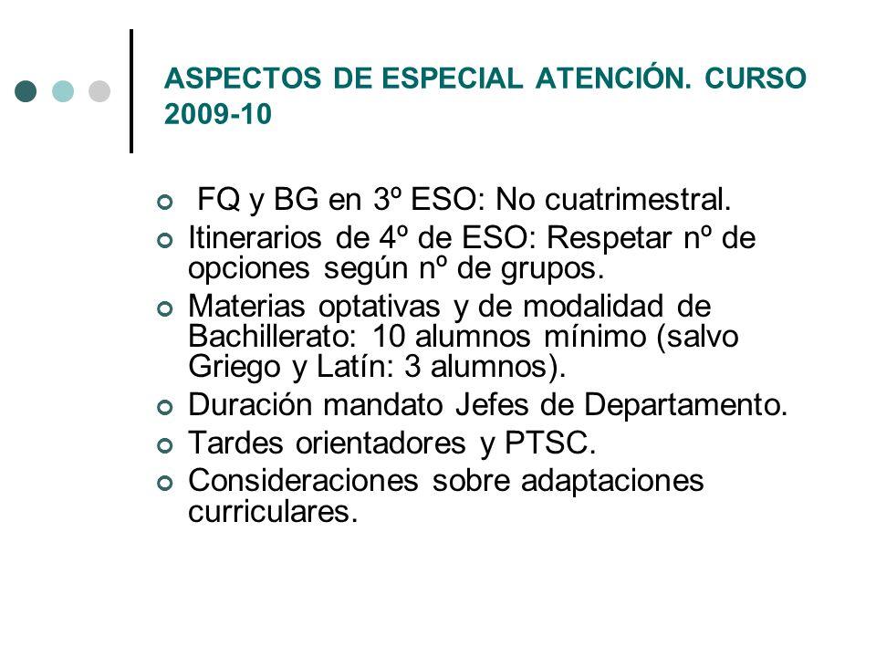ASPECTOS DE ESPECIAL ATENCIÓN. CURSO 2009-10