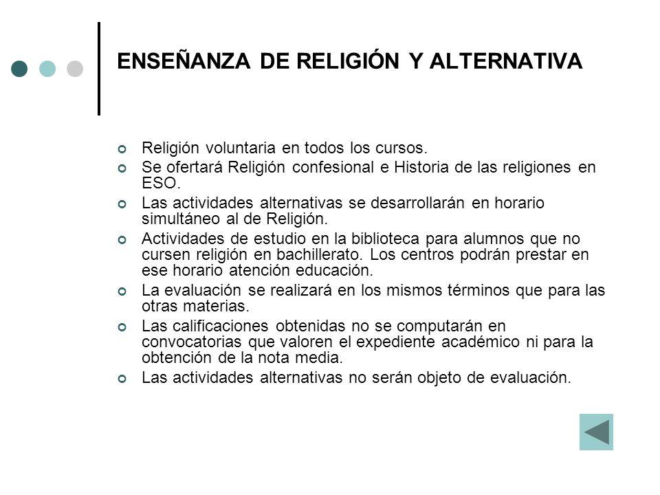 ENSEÑANZA DE RELIGIÓN Y ALTERNATIVA