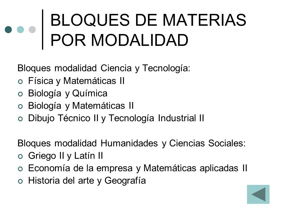 BLOQUES DE MATERIAS POR MODALIDAD