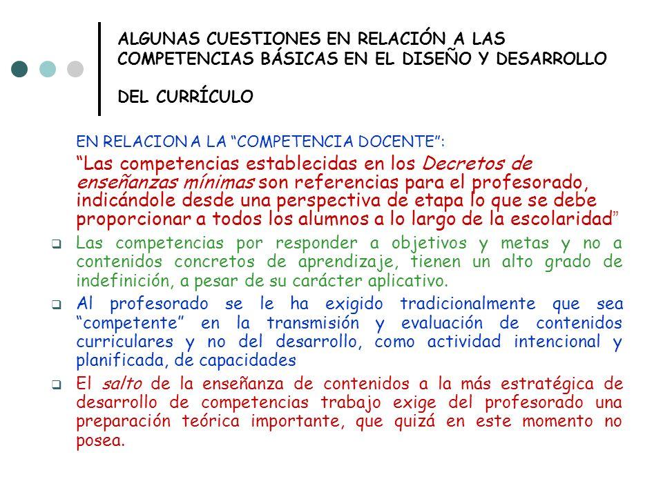 ALGUNAS CUESTIONES EN RELACIÓN A LAS COMPETENCIAS BÁSICAS EN EL DISEÑO Y DESARROLLO DEL CURRÍCULO