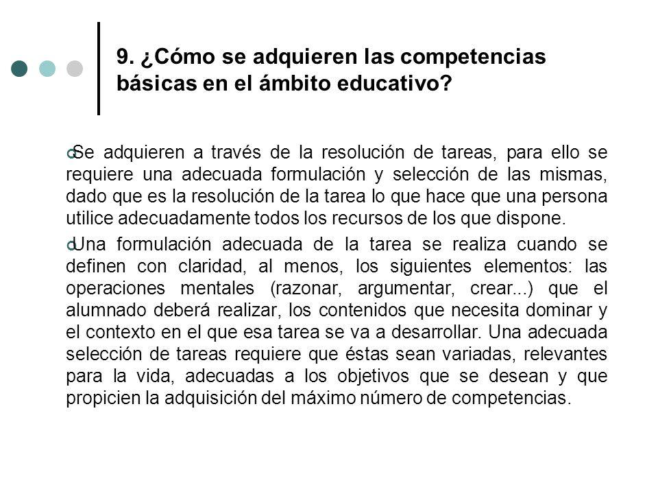 9. ¿Cómo se adquieren las competencias básicas en el ámbito educativo