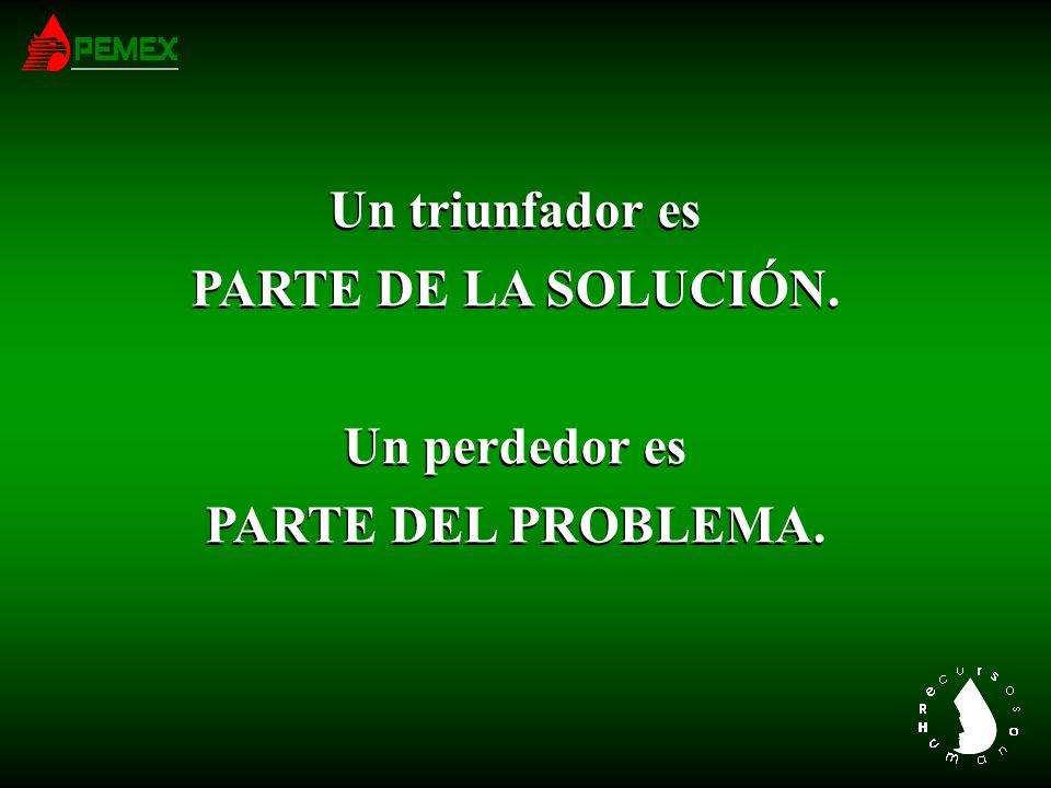 Un triunfador es PARTE DE LA SOLUCIÓN. Un perdedor es PARTE DEL PROBLEMA.