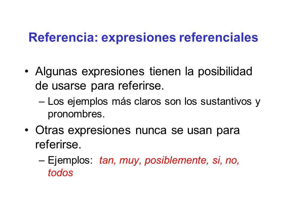 Referencia: expresiones referenciales