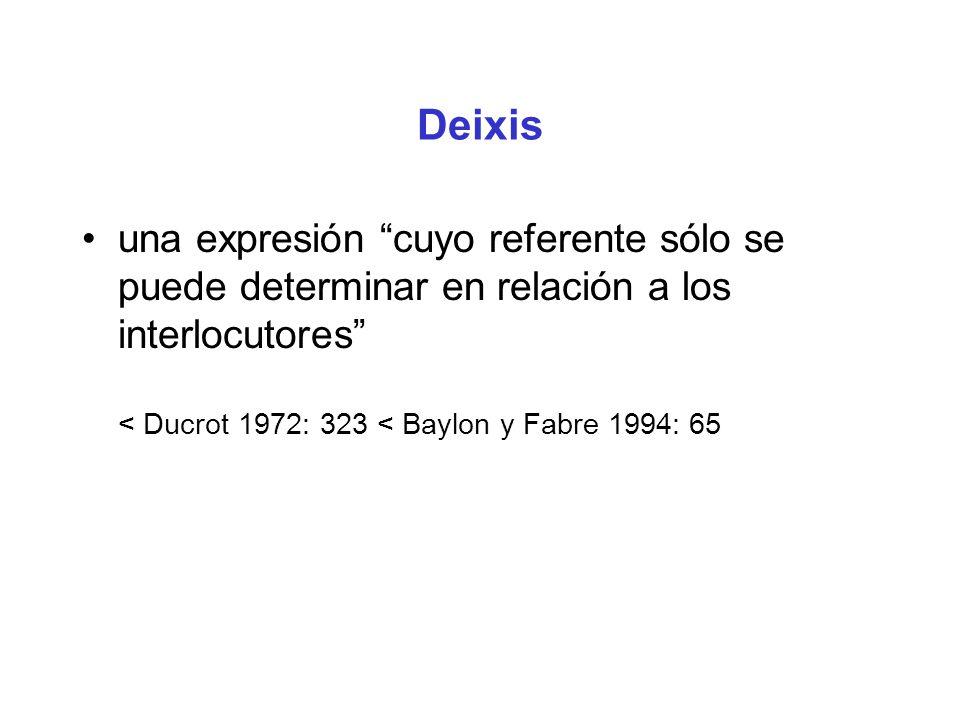 Deixis una expresión cuyo referente sólo se puede determinar en relación a los interlocutores < Ducrot 1972: 323 < Baylon y Fabre 1994: 65.