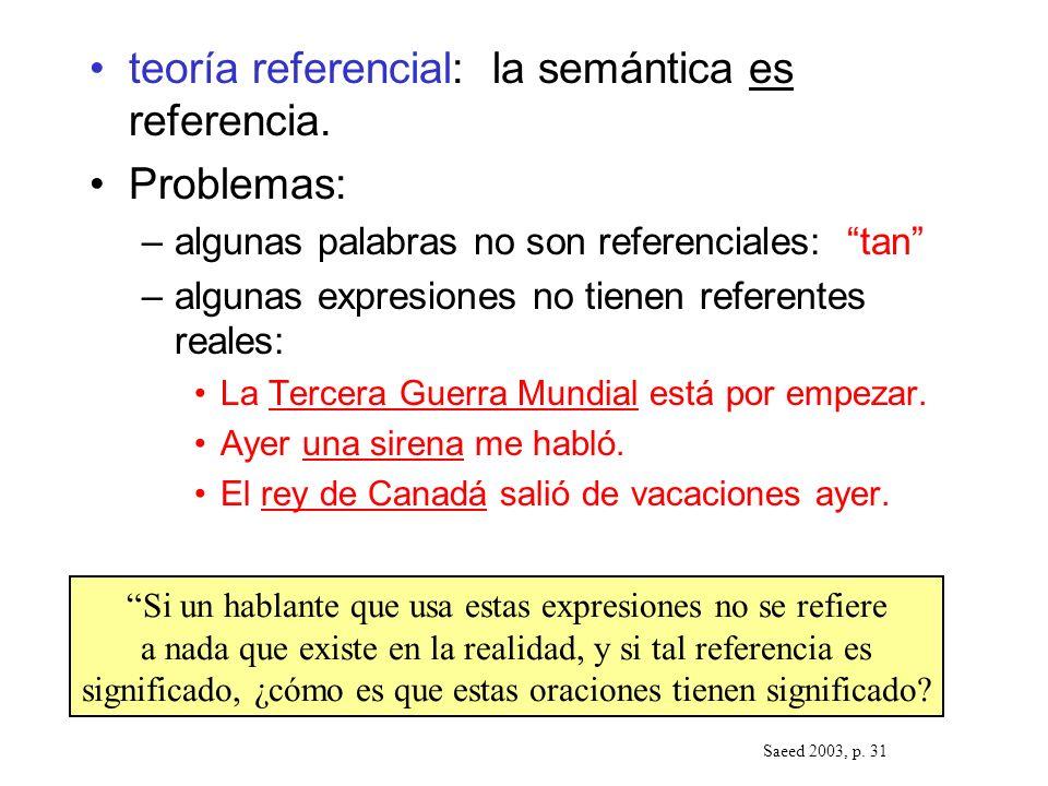 teoría referencial: la semántica es referencia. Problemas: