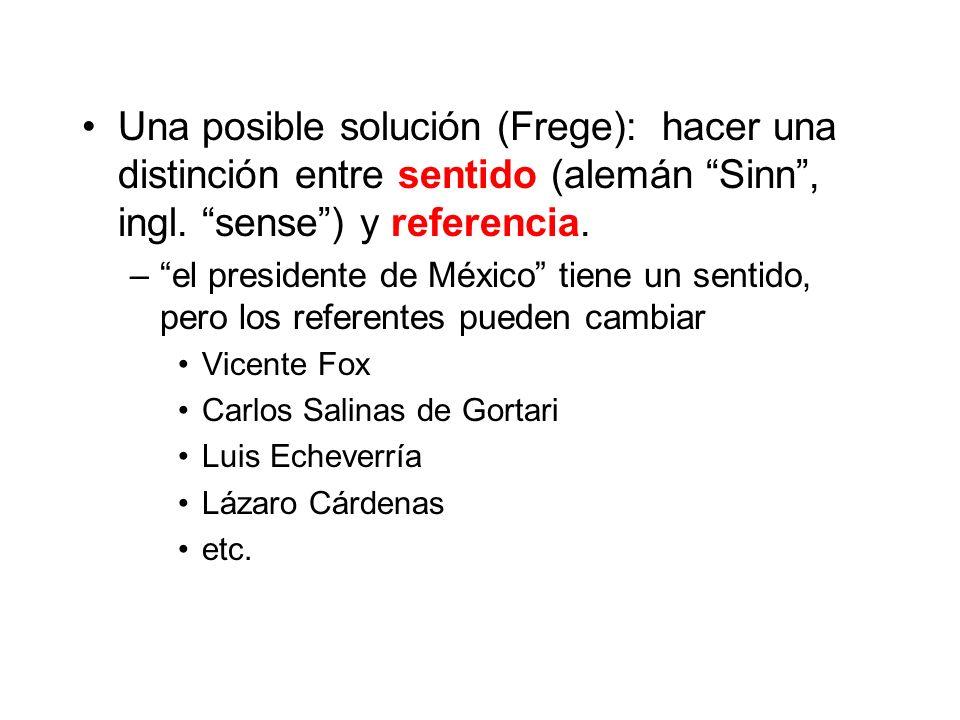 Una posible solución (Frege): hacer una distinción entre sentido (alemán Sinn , ingl. sense ) y referencia.