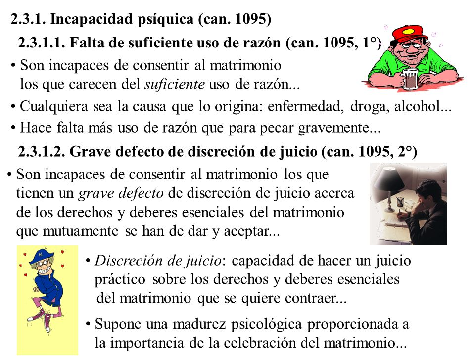 2.3.1. Incapacidad psíquica (can. 1095)